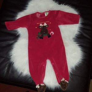 Other - Baby's 1st Christmas velour footed pajamas 12M